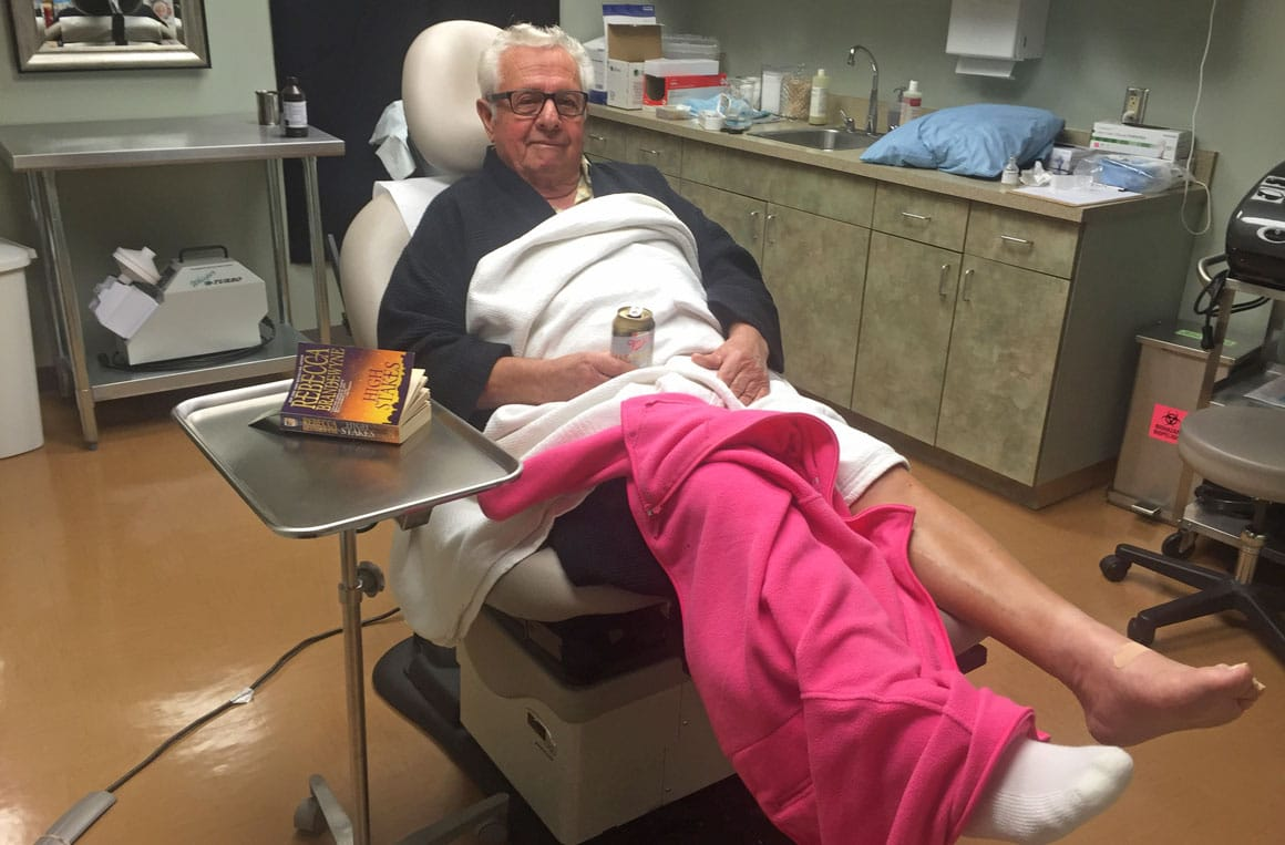 Our patient immediately after stem cell treatment to his knee