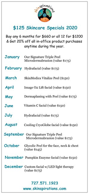 List of 2020 monthly skincare specials